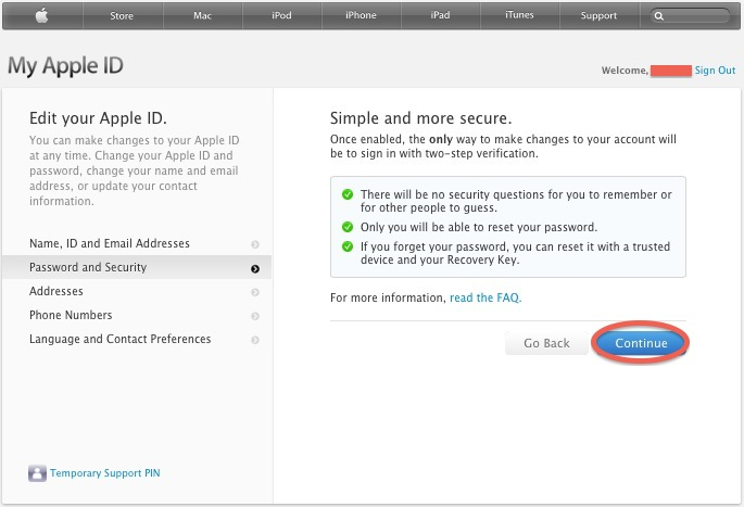 Enable two step verification for Apple ID - SecuritySpread