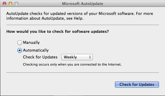 Make sure the AutoUpdate window is set to automatically check for updates at least weekly.