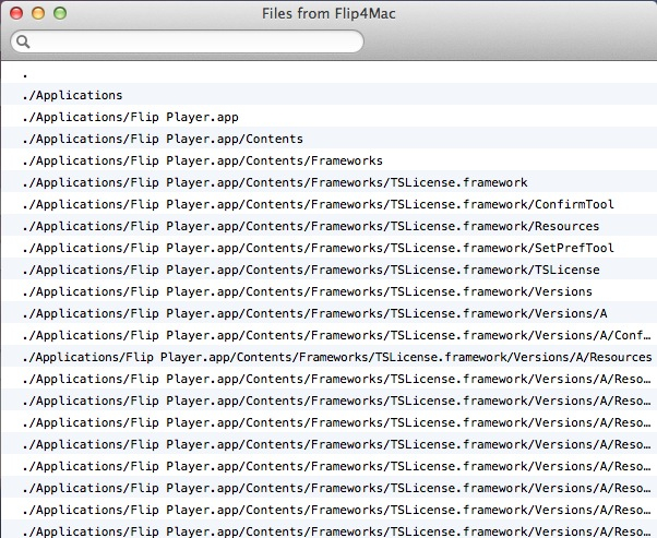 The list that is shown for the Flip4Mac installer.