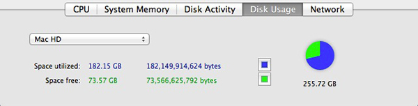 Activity Monitor Disk Usage tab