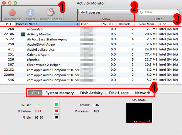 Activity Monitor default window.