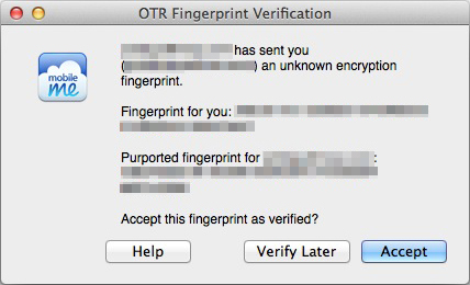 Verify the fingerprint with the other party before clicking 'verify'