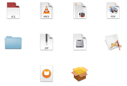 A few of the file type icons you will most likely recognize.