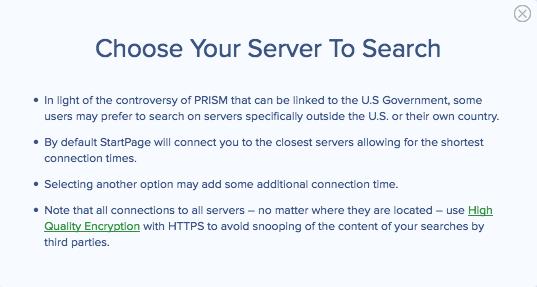 startpage-server-selection